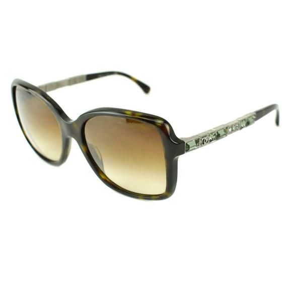 "CHANEL ""Bijou"": Tortoise Brown, Crystals & ""CC"" Logo Sunglasses (ma)"