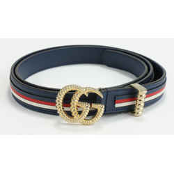 Gucci Marmont GG Logo Thin Blue Red Web Stripe Leather Belt