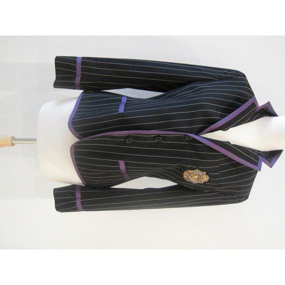 Ralph Lauren Black Pinstripe Blazer w/Signature Crest Size 8 (Item no. 7818)