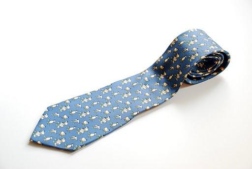 SALVATORE FERRAGAMO Goat Print Blue Tie