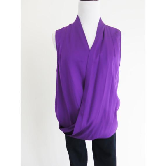 Diane von Furstenberg Purple Silk Drape Top