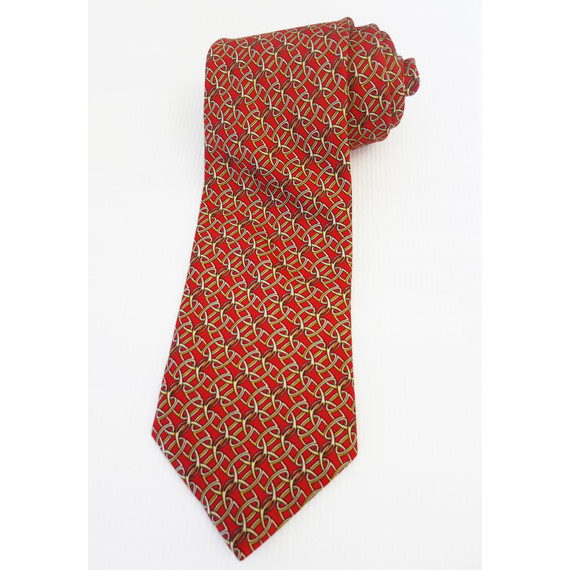 Burberry Red + Gold Print Silk Tie