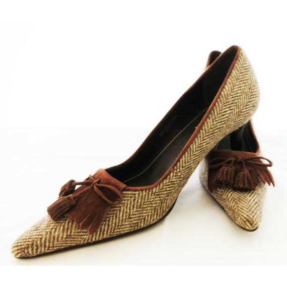 New Ralph Lauren Brown Wool Tweed Pumps