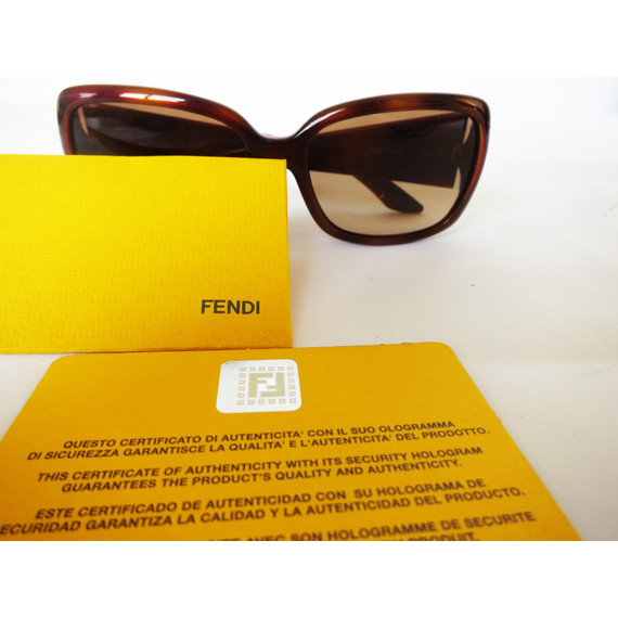 Fendi Brown Tortoise Square Sunglasses