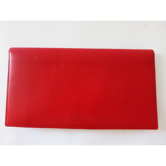 Coach Red Leather Checkbook Wallet