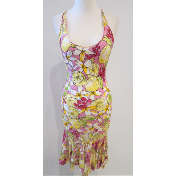 Blumarine Pink Printed Sleeveless Stretch Dress Size Small (Item no. 10757)