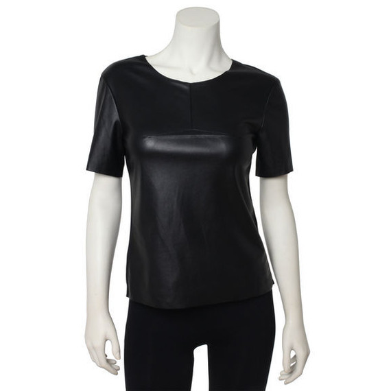 BCBG Black Faux Leather Top