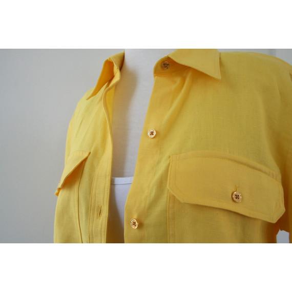 Ralph Lauren Yellow Linen Yellow Blouse Shirt Top