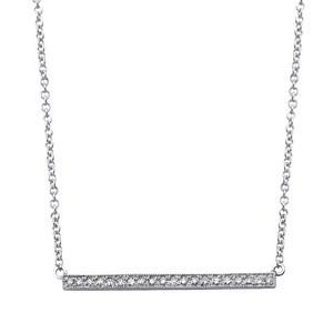 Short Bar Necklace White Gold