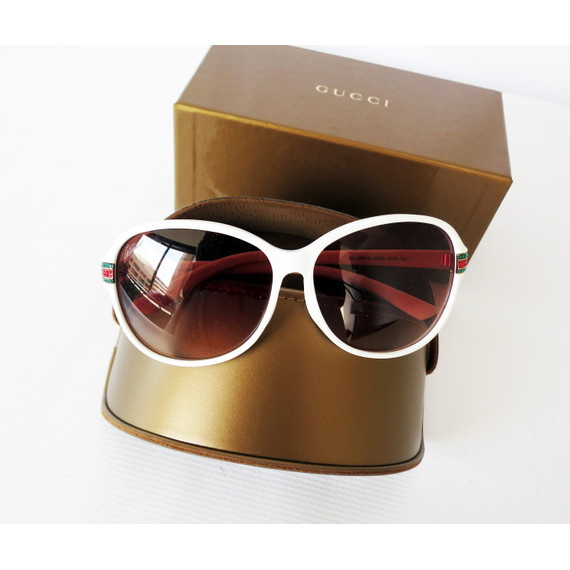 NEW Gucci White Sunglasses With Embellished Logo