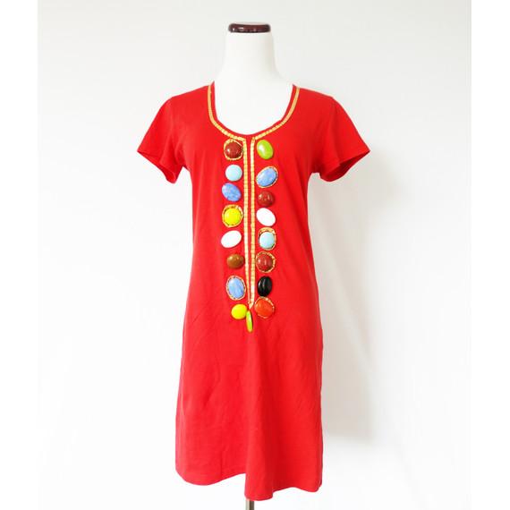 T-Bags Embellished Red Shift Dress