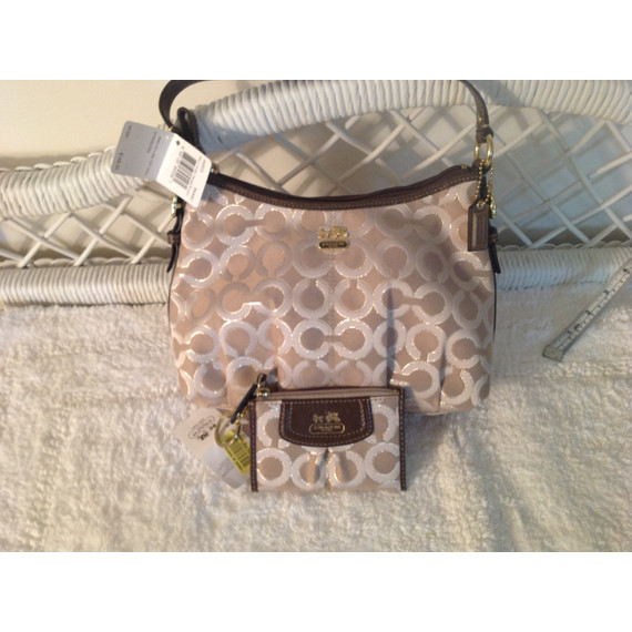 Coach Cream Ocelot Bag/with I.D and credit card holder