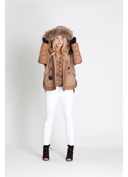 Moncler Grenoble Tan Down Jacket with Fur Hood and Wool Overlay