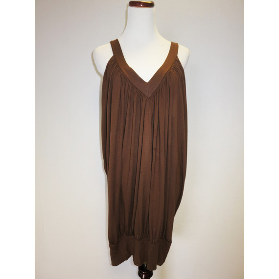 """BCBGMAXAZRIA Brown Sleeveless Tunic with Banded Bottom  """