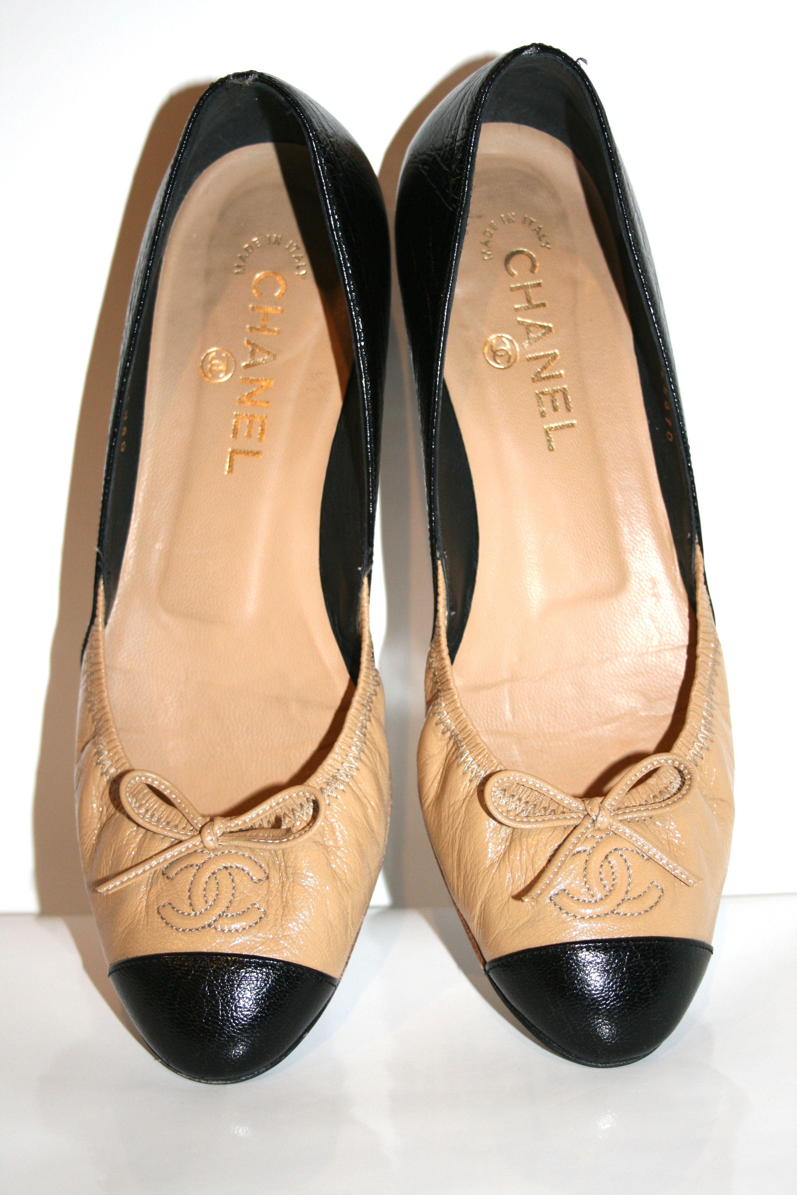 Beige Black Cap Toe Chanel Ballet Flats