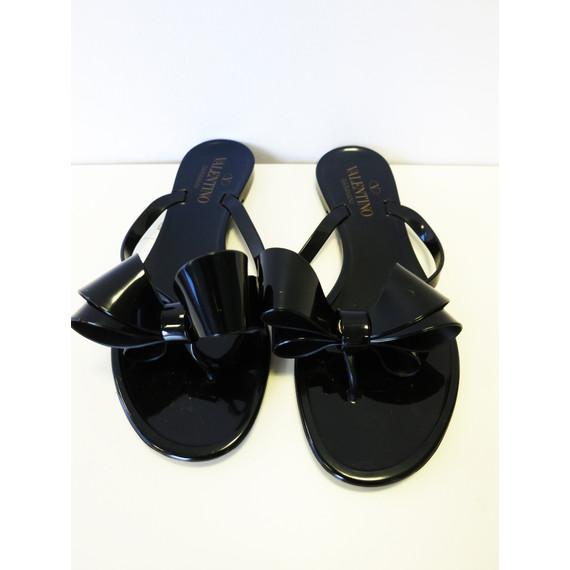 Valentino Garavani Black Rubber Flip Flops w/Bow