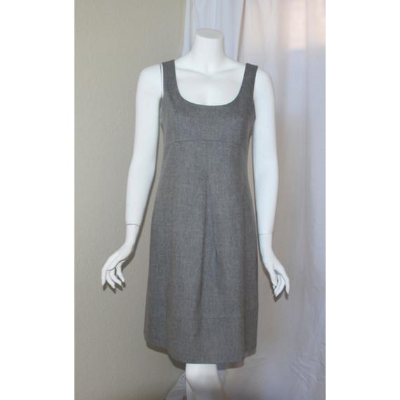THEORY Heather Gray Wool Sleeveless Dress Pleat Front with Back Zipper Size 6