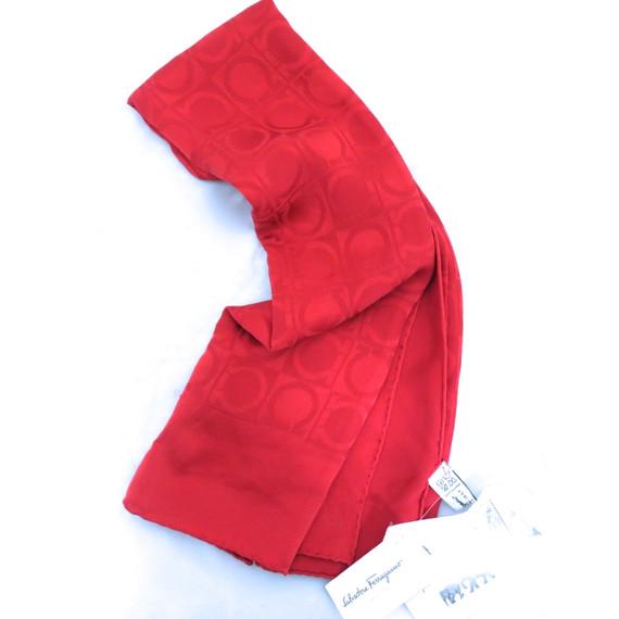 Salvatore Ferragamo Red Silk Scarf