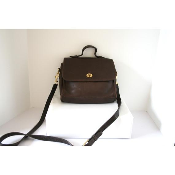 Vintage Coach Brown Leather Satchel Messenger Bag