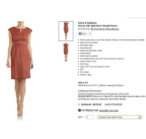 Dolce & Gabbana Woven Silk Split-Neck Sheath Dress US Size 6 $2350