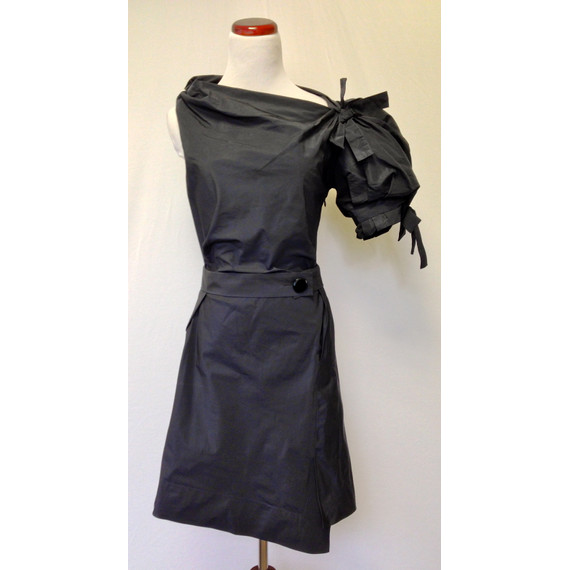 NEW Marc Jacobs Knee-Length Puff Sleeve Black Dress