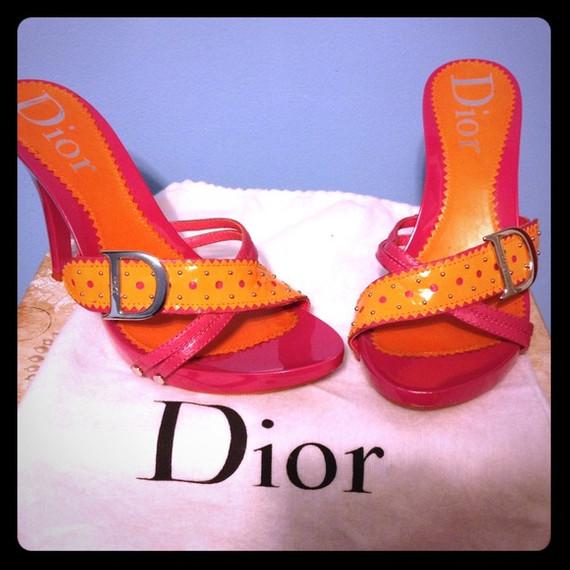 Super Price!!! Dior pink and orange studded sandals