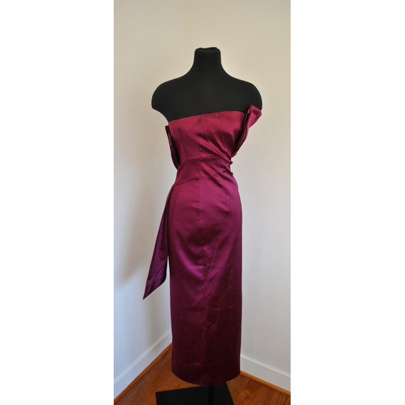 Karen Millen Strapless Origami Raspberry Colored Gown Size 4