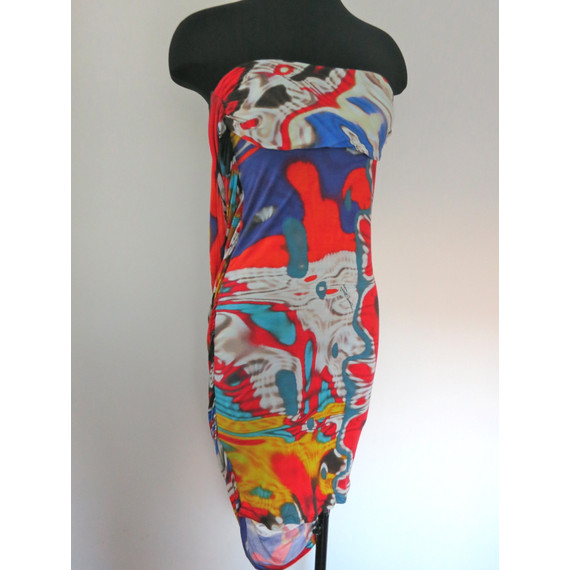 Roberto Cavalli Tie-Dye Printed Strapless Dress With Plunging Back Size XS