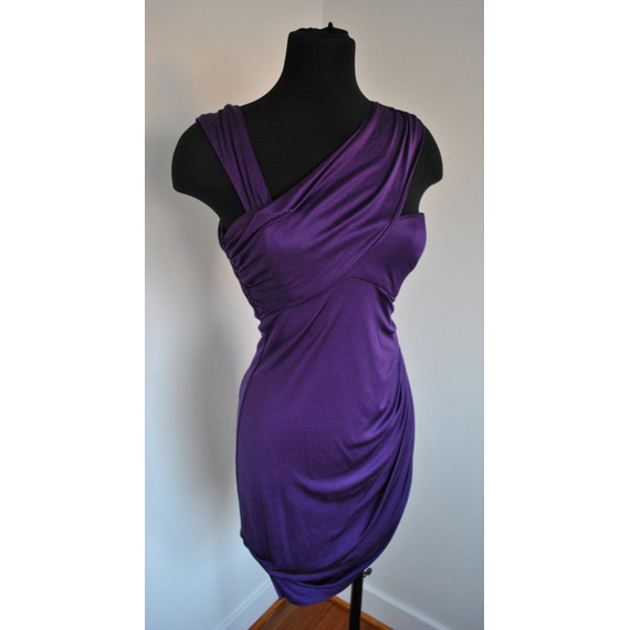 Laila Azhar Purple One Shoulder Draped Dress Size XS