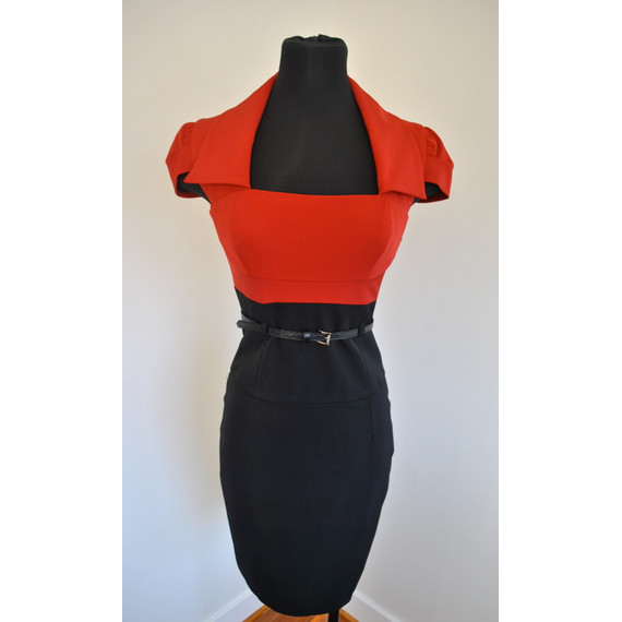 Black Halo Red and Black Cap Sleeve Dress Size 2