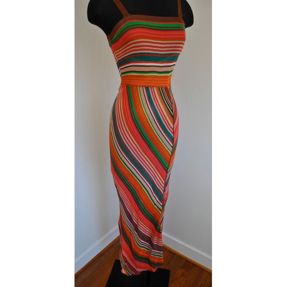 M Missoni Orange Multicolored Maxi Dress Size 2