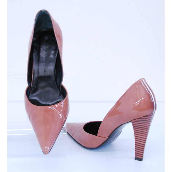 BARBARA BUI Brown Patent Leather with Wood Heel Pumps