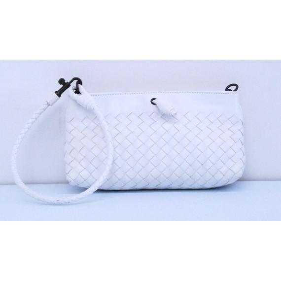 BOTTEGA VENETA White Leather MINI PONZA Wristlet Handbag