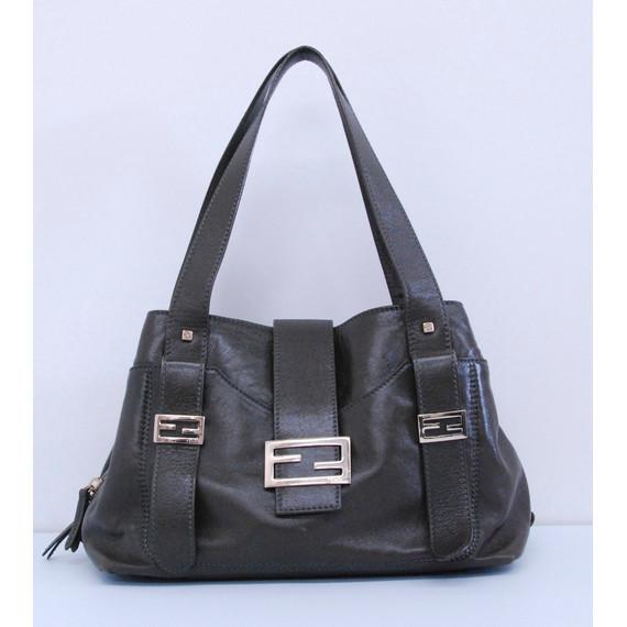 Fendi Olive Green Leather Shoulder Handbag
