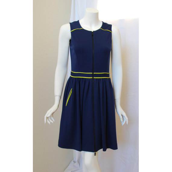 Jason Wu Blue Knit with Yellow Trim Sleeveless Dress