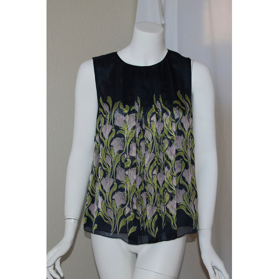 Jason Wu Navy Blue Multicolor Floral Pleated Front Sleeveless Tank Top