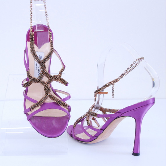 Jimmy Choo Purple Satin with Jeweled Strappy Heels