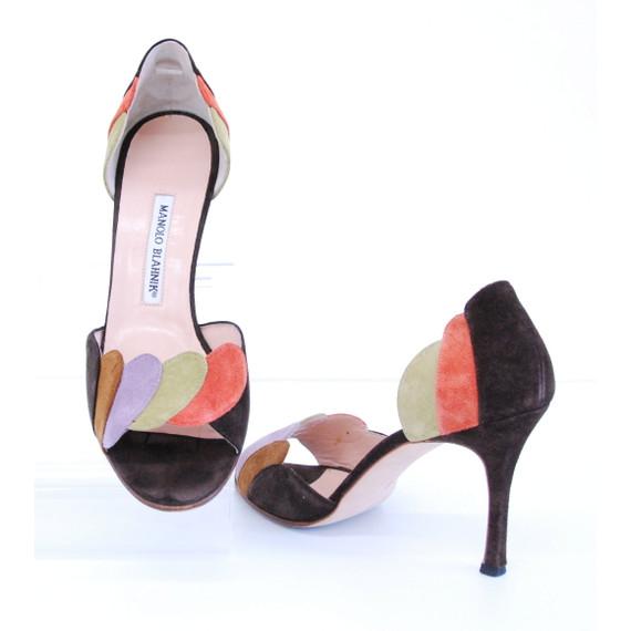 Manolo Blahnik Brown Multicolor Suede Heels