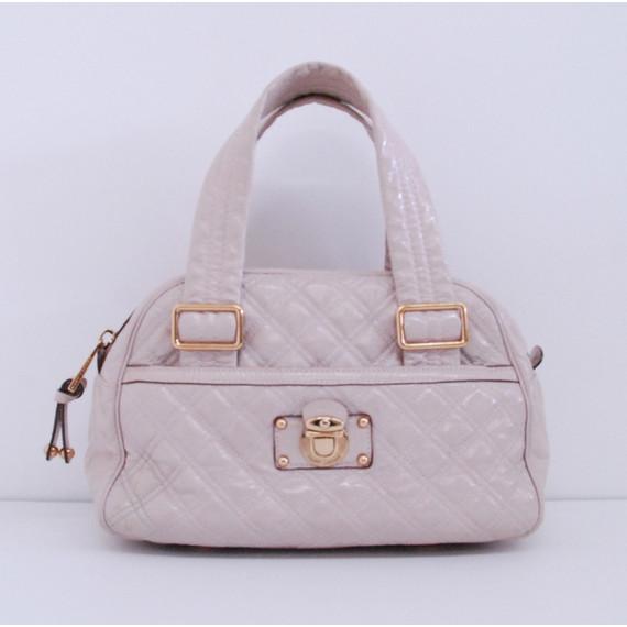 Marc Jacobs Beige Patent Leather URSULA Bowler Shoulder Bag