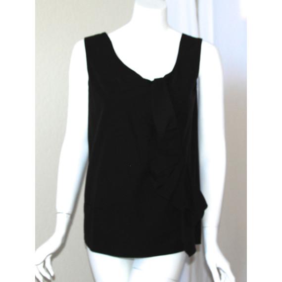 Marni Black Woven Cotton Sleeveless Top with Ruffle
