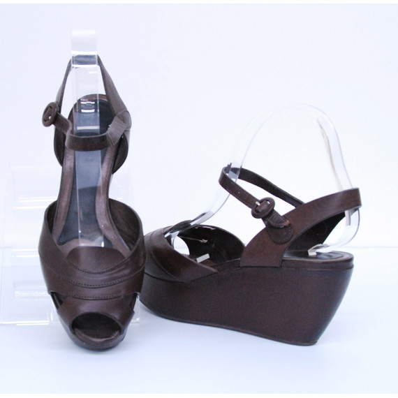 MARNI Brown Leather Open Toe Platform Wedge Sandals