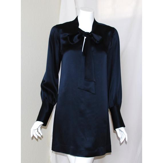 Nili Lotan Navy Blue Silk Blouse
