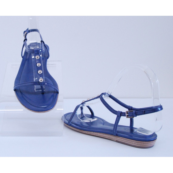 TOD'S Blue Patent Leather T Strappy Sandals