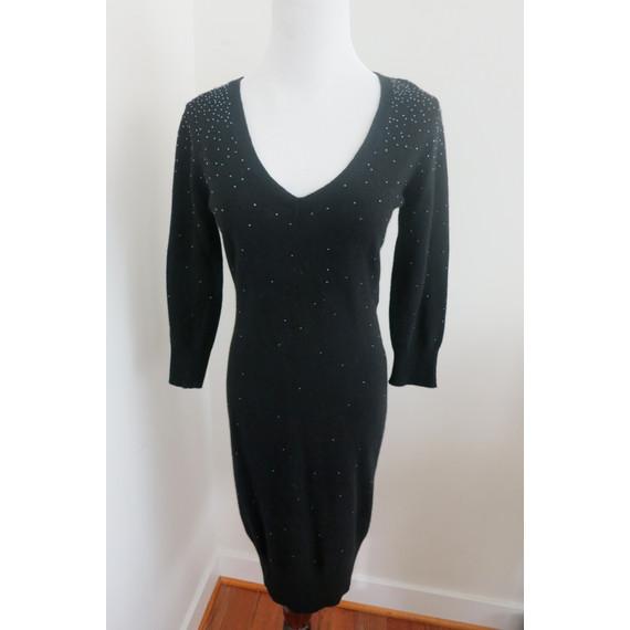 Diane von Furstenberg Beaded Wool Black Sweater Dress 3/4 Sleeve Size Small