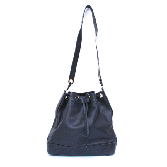 Authentic CHANEL Black Leather Drawstring Bucket Bag Shoulder Handbag Purse