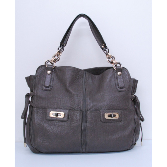 Authentic COACH Gray Textured Leather Pocket Front Shoulder Handbag Purse Bag