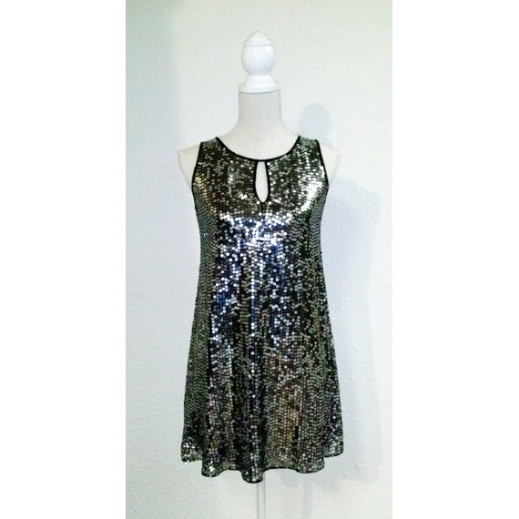 Marc Bouwer Glamit Silver Sequined Shift Dress
