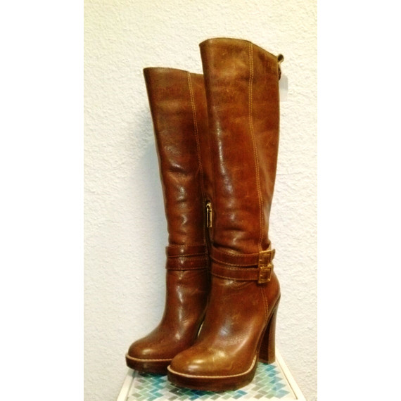 Tory Burch Brown Leather Boots with heel