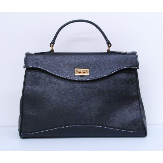 Authentic TARYN ROSE Black Leather Shoulder Handbag Purse Satchel Bag