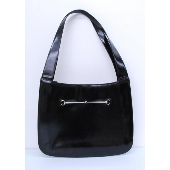 Authentic GUCCI Black Smooth Leather Shoulder Handbag Purse Tote Bag